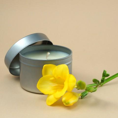 Sojų vaško žvakė metaliniame indelyje