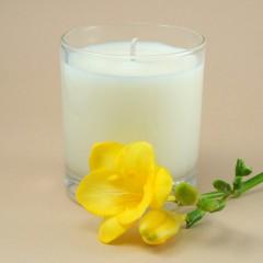 Sojų vaško žvakė stikliniame indelyje