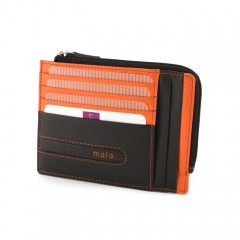 """Ruda odinė piniginė su oranžinėmis detalėmis """"Minimalizmas"""""""