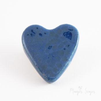 """Keraminė sagė """"Mėlyna širdelė"""""""
